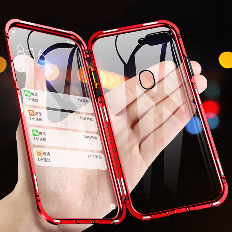 Double Sided Magnetic Flip <font><b>Case</b></font> For <font><b>OPPO</b></font> <font><b>A3S</b></font> Magnet <font><b>Glass</b></font> Full Cover For <font><b>OPPO</b></font> AX7 Phone <font><b>Case</b></font> For <font><b>OPPO</b></font> F9 pro f9 cover shell image
