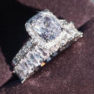 Image 2 - Moonso diseño de moda 925 anillos de pareja de plata AAA CZ piedra conjunto de anillos de compromiso para las mujeres boda joyería R4950