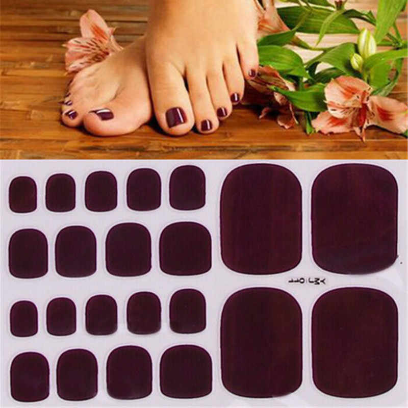 22tips Solid color Toenail Sticker Full Cover Waterproof  Wraps Toe Nail DIY  Art Accessories dark red/yellow/blue