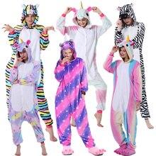 Adults  Animal Unicorn Pajamas Set Cartoon Women Men Winter Unisex Flannel stitch unicornio Sleepwear