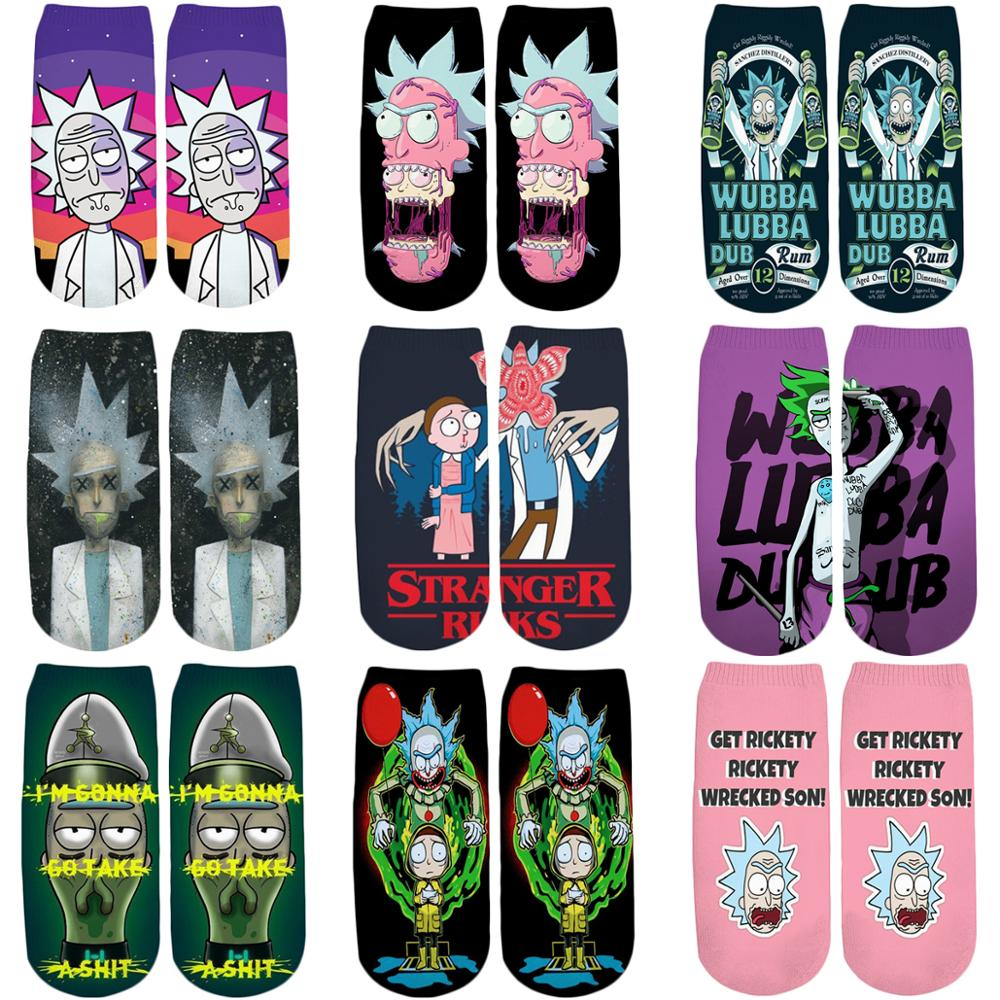 PLstar Cosmos 2019 New 3D Printed Cartoon Rick And Morty Cute Short Ankle Socks For Men Women Harajuku Korean Socks WZ777