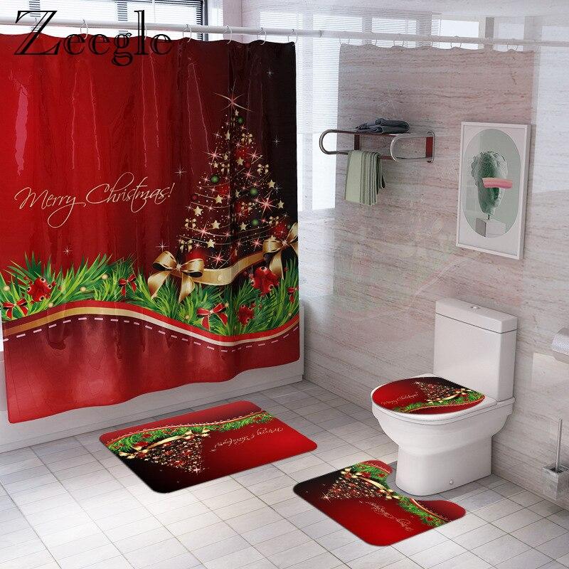 Zeegle Christmas Bath Mat and Shower Curtain Set Anti-Slip Shower Floor Mat Absorbent Toilet Rug Foot Mat Washable Bath Mat Set