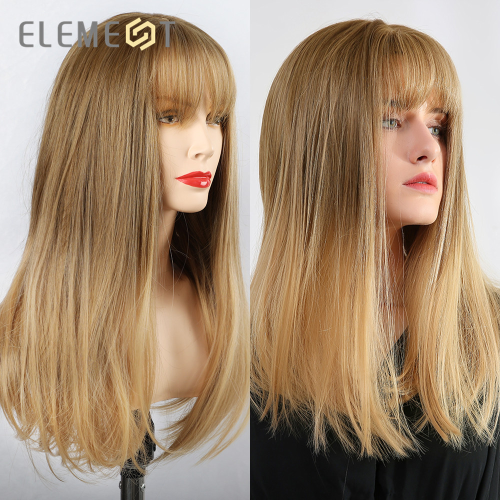 Element Synthetic Long Straight Ombre Brown To Golden Blonde Wigs With Neat Bangs For White/Black Women