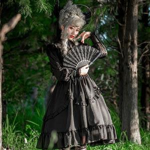 Image 4 - Vintage Long Sheer Sleeve Casual Dress Lace Ruffled Illusion Neck Midi Gothic Party Dress