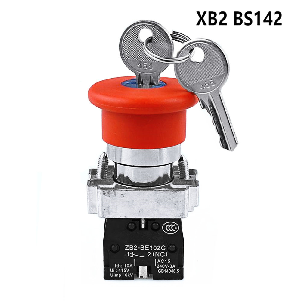 XB2-BS142 Mushroom Head Emergency Shutdown  Power Button Switch 1NO & 1NC Key Lock Start Reset Button Switch