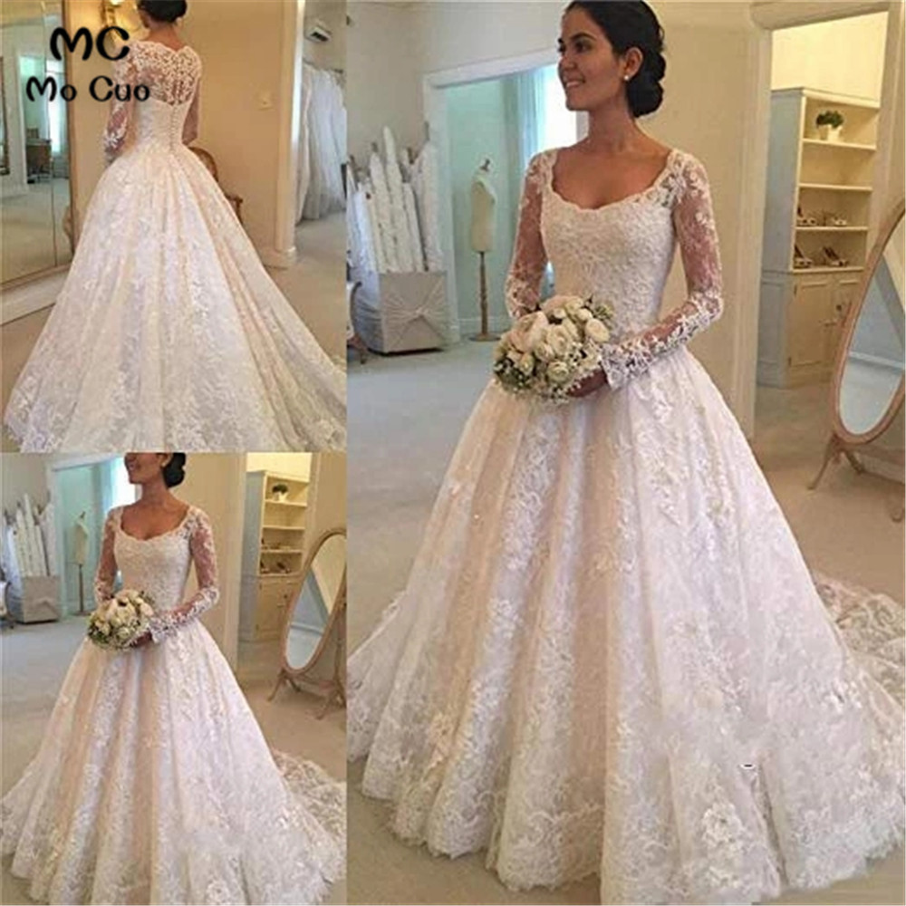 Lace Off Shoulder Wedding Dresses Long Sleeves Ball Gowns Robe De Mariage Lace Up Back Vestido De Noiva Bridal Gowns