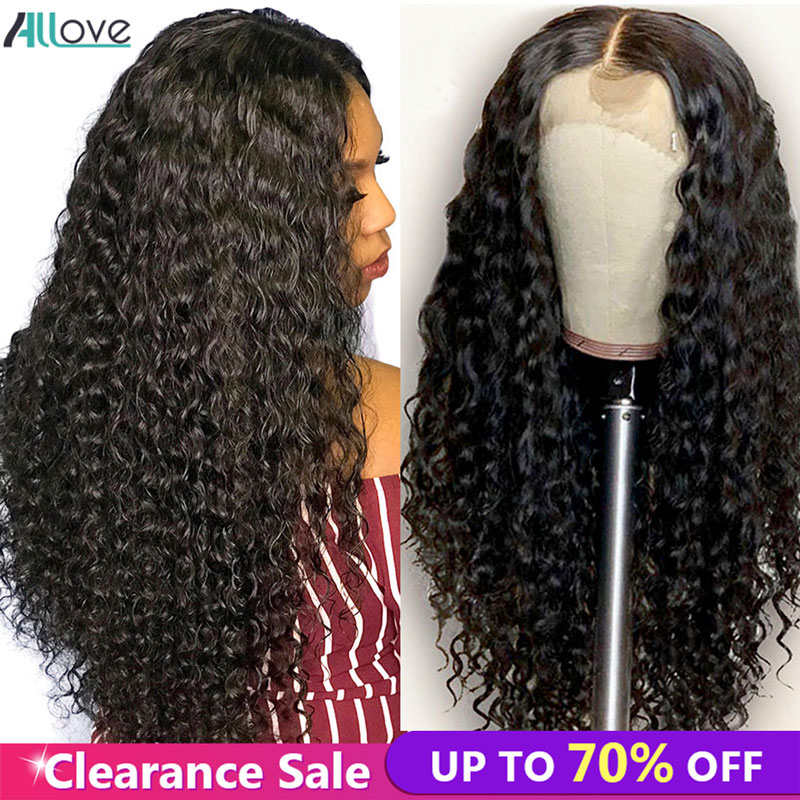 Allove Deep Wave Wig 4X4 Closure Wig For Women 150 Density Preuvian Human Hair Wigs For Black Women Pre Plucked With Baby Hair