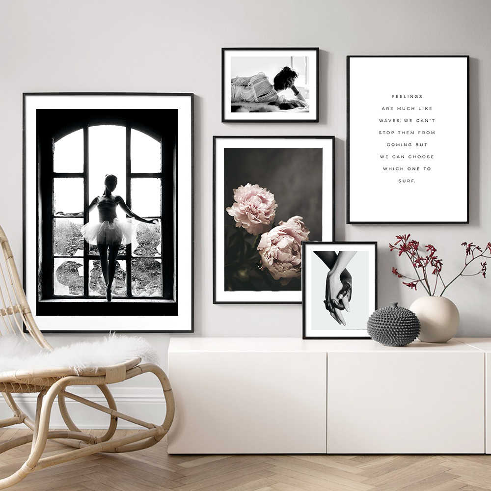 Black and White Window Girl Wall Art Back View Woman Canvas Painting Poster Posters And Prints Wall Pictures For Living Room