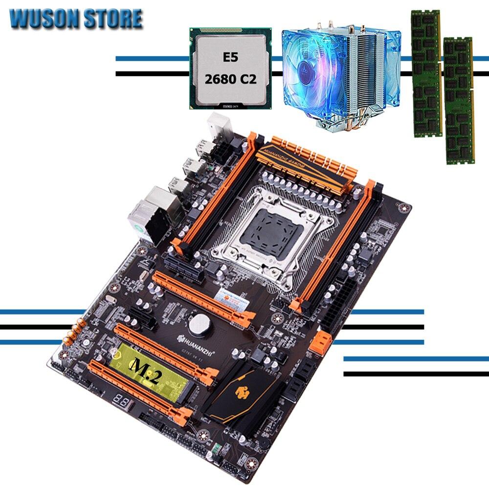 Материнская плата HUANANZHI deluxe X79, материнская плата с M.2 NVMe CPU Xeon E5 2680 C2 2,7 ГГц с кулером ОЗУ 16 г (2*8 г) REG ECC