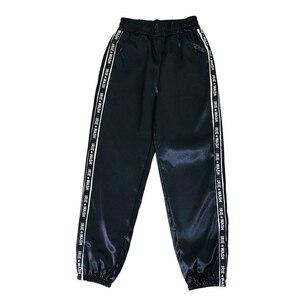 LOOZYKITWomen Summer Big Pocket Satin Highlight Pants Glossy Sport Ribbon Trousers BF Harajuku Joggers Sports Pants Gym Leggings(China)