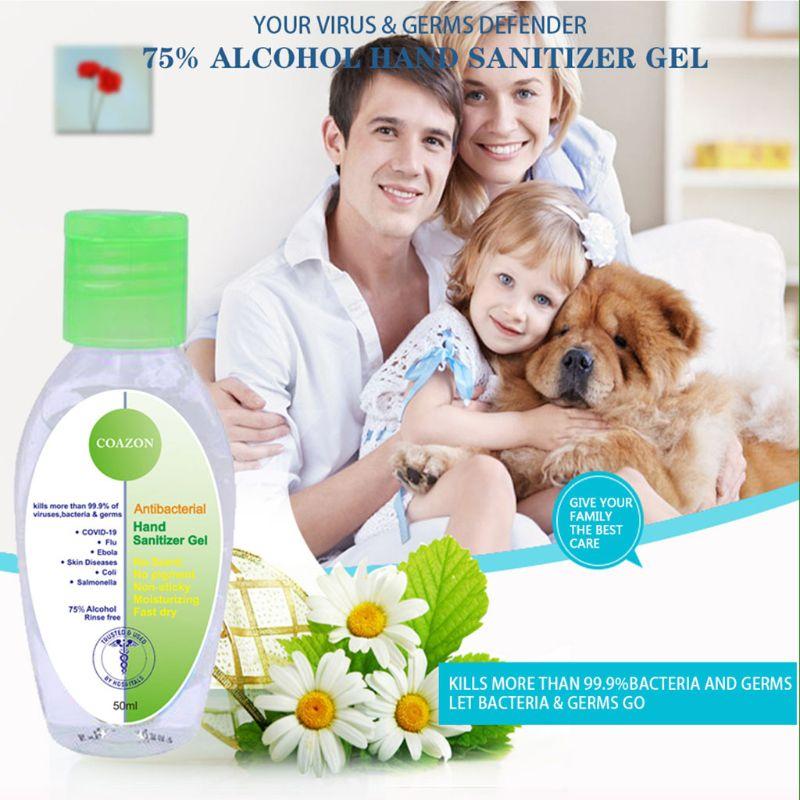 50ml Antibacterial Hand Sanitizer Gel Fast Dry Moisturizing Rinse Free Liquid X7YB