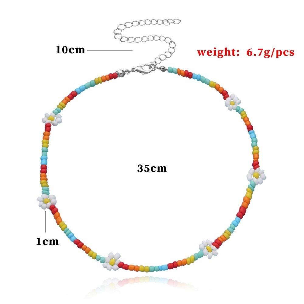 2020 New Korea Lovely Daisy Flowers collana girocollo corta con perline colorate per gioielli da donna 2