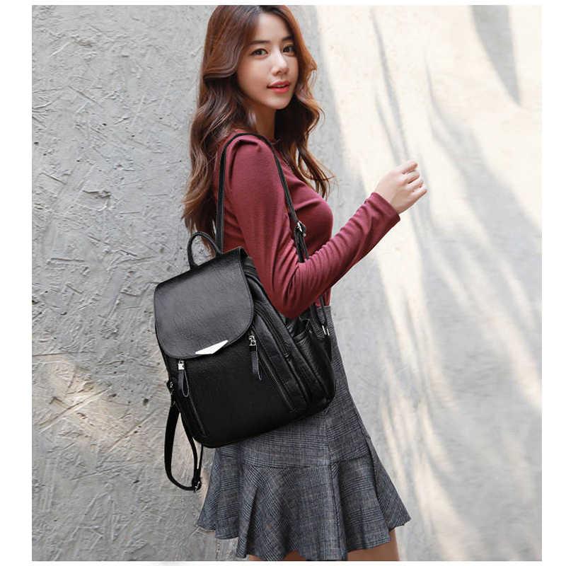 שחור עור מפוצל נשים תרמיל 2019 חדש הגב היומי חבילה אישה מוצק Bagpack גבירותיי גדול קיבולת מזדמן Backbag רוכסן