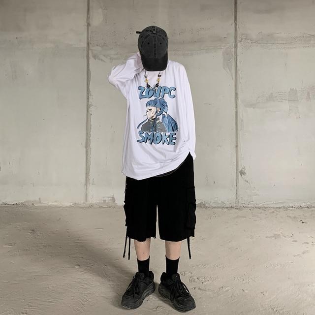 Фото футболка с длинным рукавом и японским аниме принтом харадзюку цена