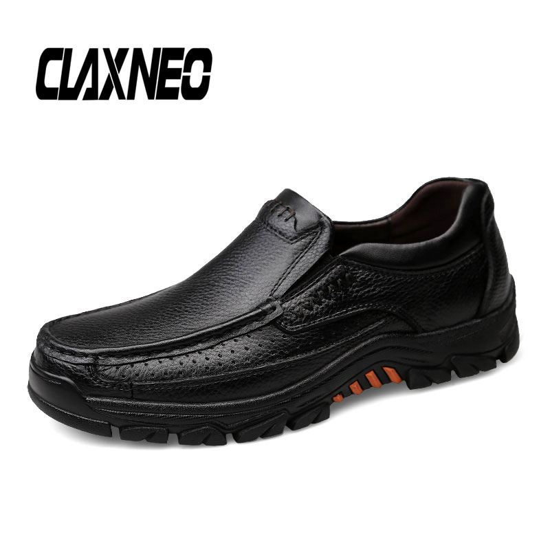 CLAXNEO Man Leather Shoes Genuine Leather Autumn Male Loafers Slip On Men's Walking Footwear Big Size