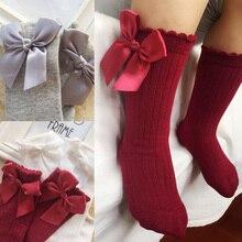 От 0 до 4 лет, весенне-осенние носки для малышей однотонные теплые гольфы с бантом для маленьких девочек, милые длинные носки без пятки для детей, носки в Вертикальную Полоску