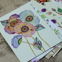 22pcs/lot Cute Hand Painting Birds and Flowers Fresh Watercolor postcards Wedding Invited Cards Celebrating Congratulation H016