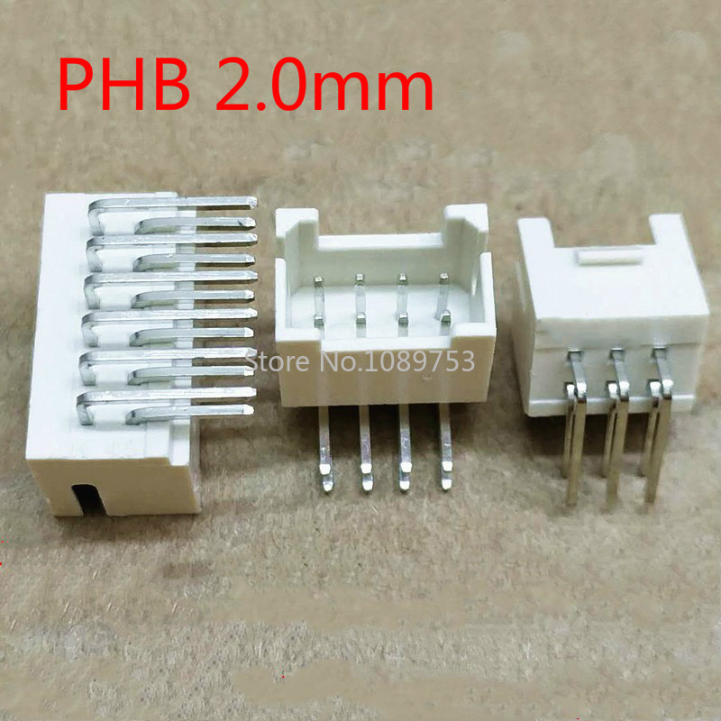 20PCS PHB 2.0mm Connector 2.0mm Male Socket Right Angle Double Row With Buckle PHSD Connectors 2*2/3/4/5/6/7/8/10P
