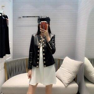 Image 2 - Heißer Gut Frau Mäntel Echtem Leder 2019 Mode Schaffell Leder Mantel Weiblichen Jacken Einreiher Echtes Leder