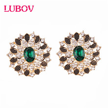 LUBOV 9 Colors Fashion Small Leaf Rhinestone Stud Earrings Gold Color Women Elegant Crystal Round Jewelry Gift Party gold round leaf earrings