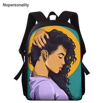 Nopersonality 15 inch School Backpack for Girls African Girl Printed Children's School Bag Big Capacity Kids Book Bags Randoseru girl printed medium paper bag