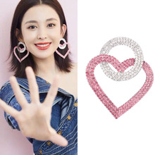 Pink heart shape Earrings  Circle  rhinestone  big luxury earrings jewelry korean fashion  trendy bohemian earrings pair of high heel heart rhinestone shape earrings