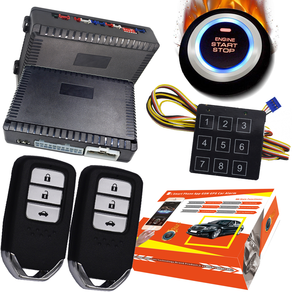 automotive 2020 Passwords pke car security alarm system with auto engine ignition button