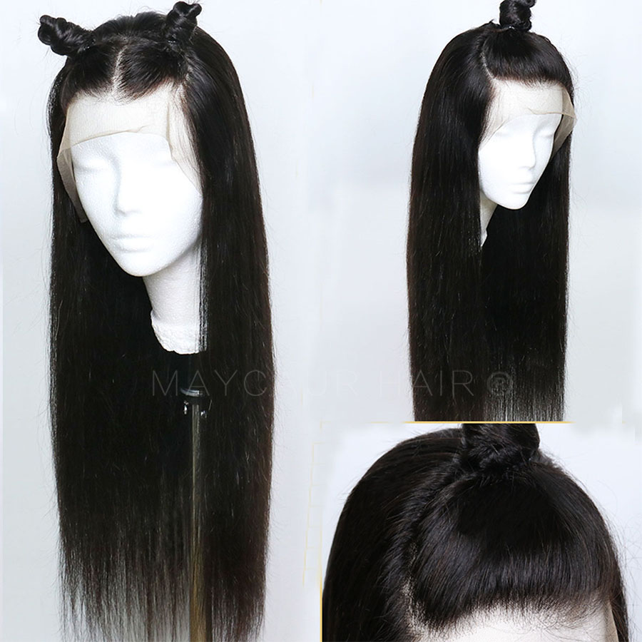 Maycaur Black Color Long Straight Synthetic Lace Front Wigs For Black Women Gluless Wig with Natural Hairline (2)