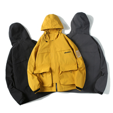 YUECHEN Autumn And Winter New Mens Casual Loose Three-color Hooded Jacket Tide Youth Popular Streetwear M-2XL