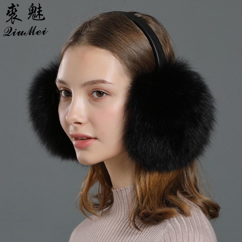 Earmuffs Winter Real Fox Fur With Genuine Leather Frame One Size Women Ear Cover 2020 New Gift Luxury Fur Warm Ear Protector