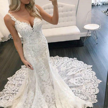 Sevgilisi öpücük düğün elbisesi Mermaid 2020 vestidos de noiva artı boyutu gelinlikler uzun tren V boyun spagetti kayışı trouwjurk