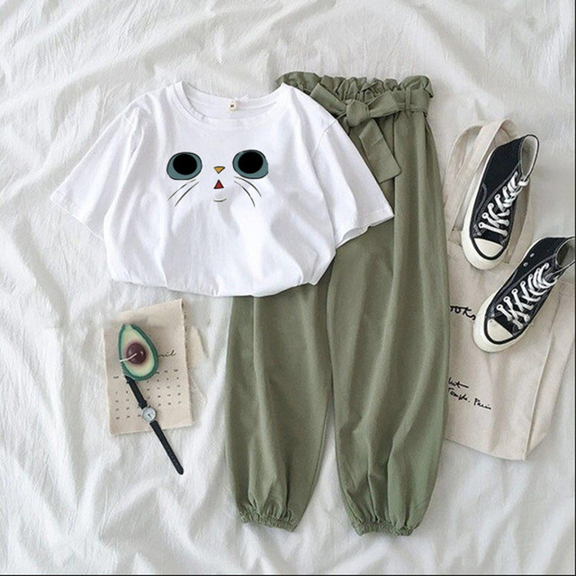 Summer Two Piece Set Female Cute Printed Tracksuit Fashion Casual High Waist Bandage Green Pants Suits Women Plus Size Outfits 1