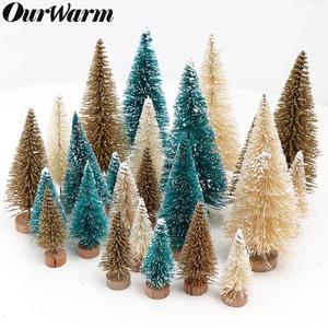8PCS Artificial Mini Christmas Trees Figurine Sisal Snow Frost Bottle Brush Trees Plastic Winter Snow Ornaments Garden Decor
