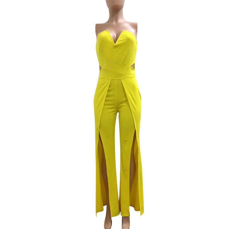 Sem alças sólido plus size bodysuit feminino sem costas império lado fenda elegante macacão sexy clube festa sem mangas perna larga playsuit