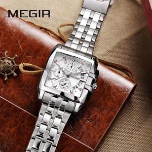 Image 5 - MEGIR オリジナルの高級メンズ腕時計ステンレス鋼メンズクォーツ腕時計ビジネスビッグダイヤル腕時計メンズレロジオ Masculino