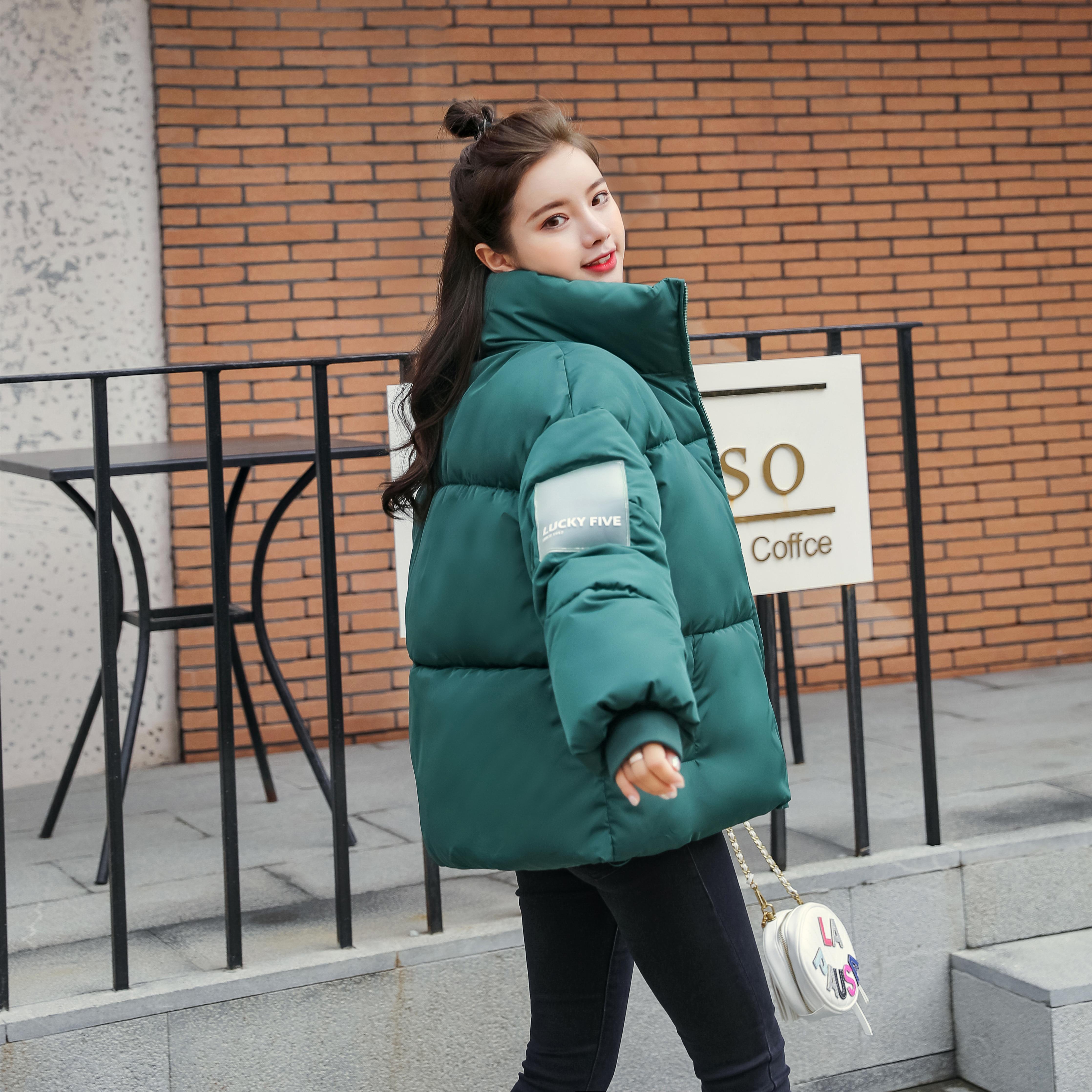 Abrigos Mujer Invierno 2019 Short Winter Jacket Women Cotton Padded Autumn Jacket Female Green Parka  Coat Womens  Puffer Jacket