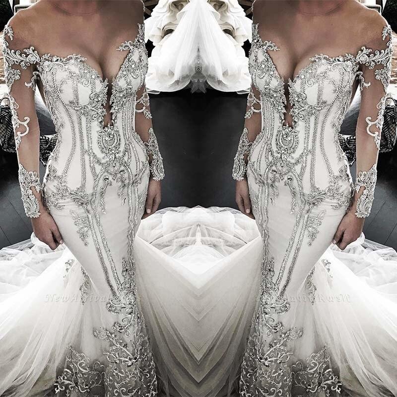New 2020 Long Luxurious Crystal Wedding Dresses Custom Made Bridal Gowns Vestido De Novia Sirena Sleeves V Neck
