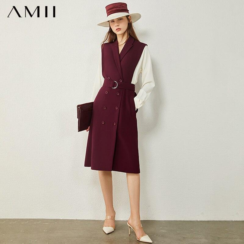 AMII minimalismo autunno abito da donna moda Olstyle risvolto impiombato doppio petto abito in Chiffon causale per donna 12040707