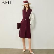 AMII Minimalism Autumn Women's Dress Fashion Olstyle Spliced Lapel Double breasted Causal Chiffon Dress For Women 12040707