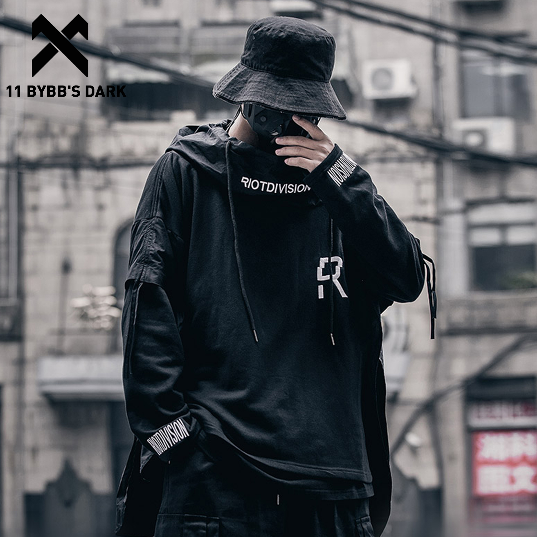 11 BYBB'S DARK Hip Hop Patchwork Loose Hoodies Men Embroideried Pullover 2020 Fake Two Techwear Hoodies Darkwear Tops Streetwear