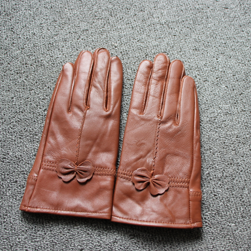 Hab79e24420fa4db7922a17d87b8f7aa1O - women's genuine leather gloves red sheepskin gloves autumn and winter fashion female windproof gloves