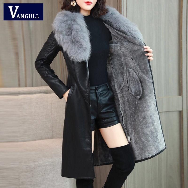 Vangull Women s Leather Jacket for Winter 2021 New Plus Velvet Warm Slim Big Fur Collar Innrech Market.com