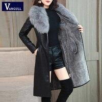 Vangull Women's Leather Jacket for Winter 2019 New Plus Velvet Warm Slim Big Fur Collar Long Leather Coat Female Outerwear M 4XL