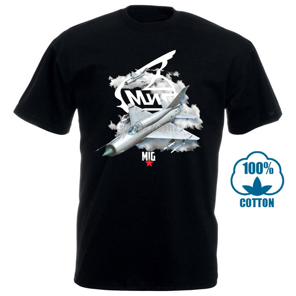 Mig 21 Russian Aircraft Military Air Force Aircraft Fighter T Shirt Black Round Collar Short Sleeve Tee Shirts Top Tee