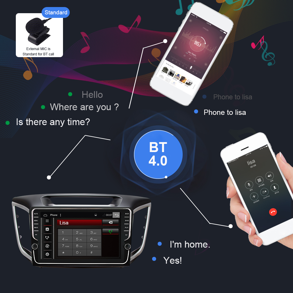Eunavi 4G + 64G IPS android 9.0 carradio für Hyundai Creta ix25 multimedia player 9 zoll gps navi PX6 WIFi stereo 1024*600 keine dvd