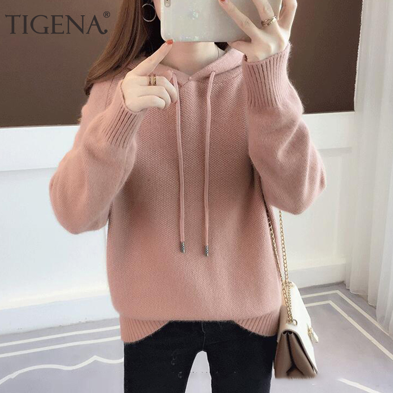 TIGENA Women Knitted Hoodies Sweatshirt 2019 Autumn Winter Korean Long Sleeve Sweatshirt Female Pink Red Blue Kpop