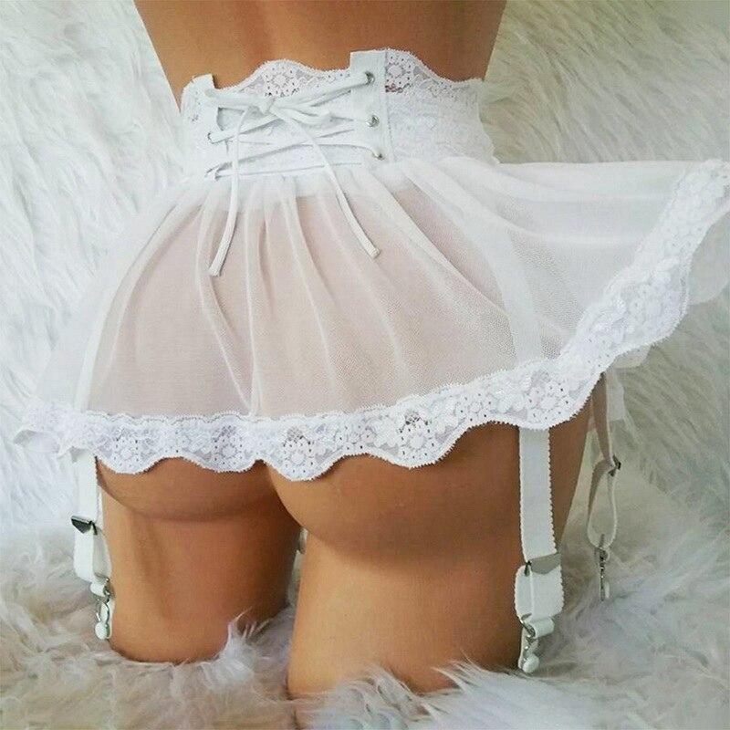 Muyogrt Sexy Hot Jarretels Lingerie Plus Size 3XL Garter Black Women Stocking Suspenders Garter Belt Lace mesh Skirt Sexy Tanga