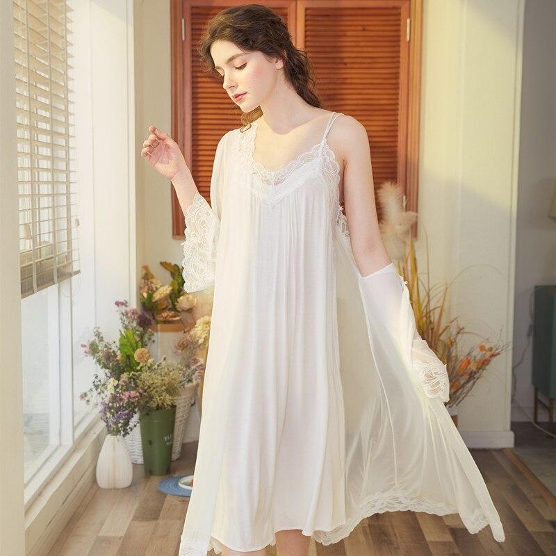 2020 2 PCS Spring Summer White Honeymoon Female Robe Gown Set Bride Sexy Cotton Lace Princess Nightie Peignoir Sets Home Wear