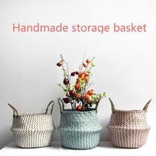 Handmade Boho Decor Striped Wicker Storage Basket Collapsible Laundry Basket Straw Patchwork Rieten Mand Seaweed Flower Seaweed