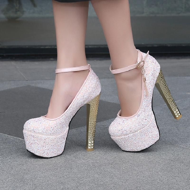 XJRHXJR Size 33-43 2020 Women Pumps Female 15.5cm High Heels Wedding Shoes Blue Pink White Glitter Autumn Platforms Pumps